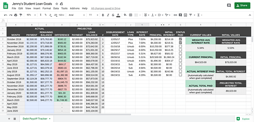 Screenshot of debt payoff tracker